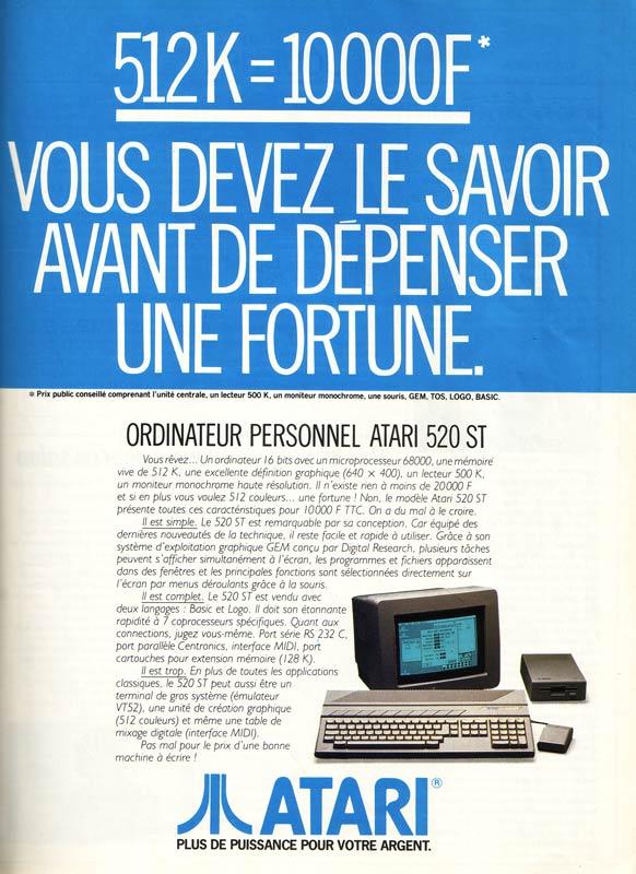 atari st: c'etait mieux avant! Atari-520ST